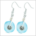 Twisted Twincies Cute Frosted Sea Glass Good Luck Charms Sky Blue Amulet Earrings