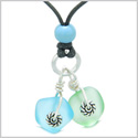 Twisted Twincies Cute Frosted Sea Glass Lucky Charms Sky Blue Mint Green Amulets Adjustable Necklace
