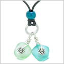 Twisted Twincies Cute Frosted Sea Glass Lucky Charms Aqua Blue Mint Green Amulets Adjustable Necklace