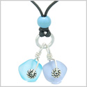 Twisted Twincies Cute Frosted Sea Glass Lucky Charms Sky Blue Pastel Purple Amulets Adjustable Necklace