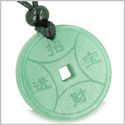 Amulet Magic Lucky Coin Fortune Symbols Medallion Green Aventurine Good Luck Powers Pendant on Adjustable Cord Necklace