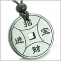 Amulet Magic Lucky Coin Fortune Symbols Medallion Hematite Good Luck and Protection Powers Pendant on Adjustable Cord Necklace
