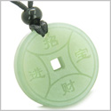 Amulet Magic Lucky Coin Fortune Symbols Medallion New Green Jade Good Luck Powers Pendant on Adjustable Cord Necklace