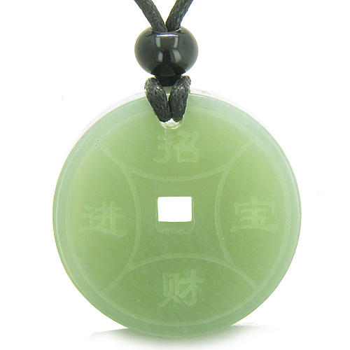 Jade gemstone amulet magic lucky coin fortune symbols medallion amulet magic lucky coin fortune symbols medallion new green jade good luck powers pendant on adjustable mozeypictures Images