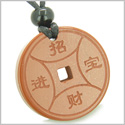 Amulet Magic Lucky Coin Fortune Symbols Medallion Red Jasper Good Luck and Believe Powers Pendant on Adjustable Cord Necklace
