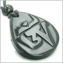 Amulet Ancient Tibetan OM Good Luck Charm Black Onyx Spiritual Protection Hand Carved Pendant Necklace
