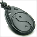Amulet Ancient Tibetan Yin Yang Good Luck Charm Black Onyx Spiritual Protection Hand Carved Pendant Necklace