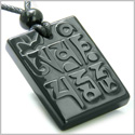 Amulet Ancient Tibetan Mantra OM Mani Padme Hum Good Luck Charm Black Onyx Spiritual Protection Hand Carved Pendant Necklace