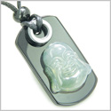Happy Face Buddha Amulet Good Luck and Evil Eye Protection Powers Green Jade Black Onyx Gems Tag Pendant Necklace