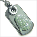 Happy Face Buddha Amulet Good Luck and Spiritual Protection Powers Green Moss Agate Black Onyx Gems Tag Pendant Necklace
