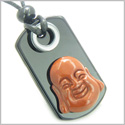 Happy Face Buddha Amulet Believe and Spiritual Protection Powers Red Jasper Black Onyx Gems Tag Pendant Necklace