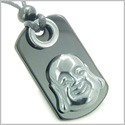 Happy Face Buddha Amulet Good Luck and Evil Eye Protection Powers Hematite Black Onyx Gems Tag Pendant Necklace