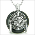 "Amulet Howling Wolf and Feathers Medallion Spiritual Powers Black Onyx Lucky Donut Pendant on 18"" Steel Necklace"