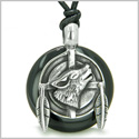 Amulet Howling Wolf and Feathers Medallion Spiritual Powers Black Onyx Lucky Donut Pendant on Adjustable Cord Necklace