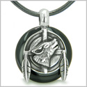 Amulet Howling Wolf and Feathers Medallion Spiritual Powers Black Onyx Lucky Donut Pendant on Leather Cord Necklace
