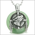 "Amulet Howling Wolf and Feathers Medallion Good Luck Powers Green Aventurine Lucky Donut Pendant on 18"" Steel Necklace"