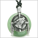 Amulet Howling Wolf and Feathers Medallion Good Luck Powers Green Aventurine Lucky Donut Pendant on Adjustable Cord Necklace
