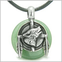 Amulet Howling Wolf and Feathers Medallion Good Luck Powers Green Aventurine Lucky Donut Pendant on Leather Cord Necklace