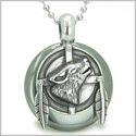 "Amulet Howling Wolf and Feathers Medallion Protection Powers Hematite Lucky Donut Pendant on 18"" Steel Necklace"