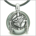 Amulet Howling Wolf and Feathers Medallion Protection Powers Hematite Lucky Donut Pendant on Leather Cord Necklace