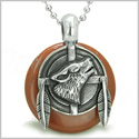 "Amulet Howling Wolf and Feathers Medallion Spiritual Powers Red Jasper Lucky Donut Pendant on 18"" Steel Necklace"