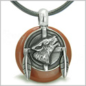 Amulet Howling Wolf and Feathers Medallion Spiritual Powers Red Jasper Lucky Donut Pendant on Leather Cord Necklace