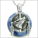 "Amulet Howling Wolf and Feathers Medallion Good Luck Powers Sodalite Lucky Donut Pendant on 22"" Steel Necklace"