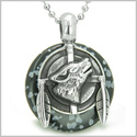 "Amulet Howling Wolf and Feathers Medallion Protection Powers Snowflake Obsidian Lucky Donut Pendant on 18"" Steel Necklace"