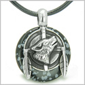 Amulet Howling Wolf and Feathers Medallion Protection Powers Snowflake Obsidian Lucky Donut Pendant on Leather Cord Necklace