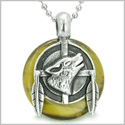 "Amulet Howling Wolf and Feathers Medallion Protection Powers Tiger Eye Lucky Donut Pendant on 18"" Steel Necklace"