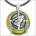 Amulet Howling Wolf and Feathers Medallion Protection Powers Tiger Eye Lucky Donut Pendant on Leather Cord Necklace