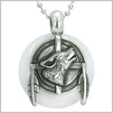 "Amulet Howling Wolf and Feathers Medallion Protection Powers White Jade Lucky Donut Pendant on 18"" Steel Necklace"