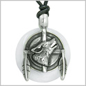Amulet Howling Wolf and Feathers Medallion Protection Powers White Jade Lucky Donut Pendant on Adjustable Cord Necklace