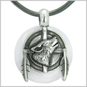 Amulet Howling Wolf and Feathers Medallion Protection Powers White Jade Lucky Donut Pendant on Leather Cord Necklace