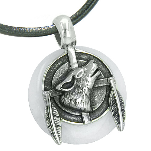 Lucky Crystal Pendants Amulet Howling Wolf And Feathers