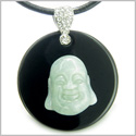 Amulet Happy Laughing Buddha Medallion in Black Onyx and Green Jade Gemstones Magic Powers Pendant on Leather Cord Necklace