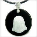Amulet Happy Laughing Buddha Medallion in Black Onyx and White Jade Gemstones Magic Powers Pendant on Leather Cord Necklace