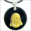 Amulet Happy Laughing Buddha Medallion in Black Onyx and Tiger Eye Gemstones Magic Powers Pendant on Leather Cord Necklace