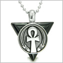 "Amulet Ankh Egyptian Powers of Life Pyramid Energies Black Onyx Trinity Protection Spirit Pendant on 22"" Steel Necklace"