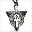 Amulet Ankh Egyptian Powers of Life Pyramid Energies Black Onyx Trinity Protection Spirit Pendant on Adjustable Cord Necklace