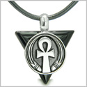 Amulet Ankh Egyptian Powers of Life Pyramid Energies Black Onyx Trinity Protection Spirit Pendant on Leather Cord Necklace