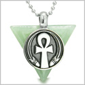 "Amulet Ankh Egyptian Powers of Life Pyramid Energies Green Aventurine Trinity Good Luck Spirit Pendant on 18"" Steel Necklace"
