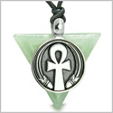 Amulet Ankh Egyptian Powers of Life Pyramid Energies Green Aventurine Trinity Good Luck Spirit Pendant Adjustable Cord Necklace