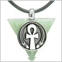 Amulet Ankh Egyptian Powers of Life Pyramid Energies Green Aventurine Trinity Good Luck Spirit Pendant on Leather Cord Necklace