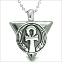 "Amulet Ankh Egyptian Powers of Life Pyramid Energies Hematite Trinity Protection Spirit Pendant on 18"" Steel Necklace"
