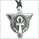 Amulet Ankh Egyptian Powers of Life Pyramid Energies Hematite Trinity Protection Spirit Pendant on Adjustable Cord Necklace