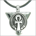 Amulet Ankh Egyptian Powers of Life Pyramid Energies Hematite Trinity Protection Spirit Pendant on Leather Cord Necklace