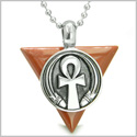 "Amulet Ankh Egyptian Powers of Life Pyramid Energies Red Jasper Trinity Good Luck Spirit Pendant on 18"" Steel Necklace"