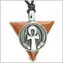 Amulet Ankh Egyptian Powers of Life Pyramid Energies Red Jasper Trinity Good Luck Spirit Pendant on Adjustable Cord Necklace