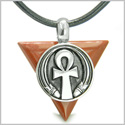 Amulet Ankh Egyptian Powers of Life Pyramid Energies Red Jasper Trinity Good Luck Spirit Pendant on Leather Cord Necklace